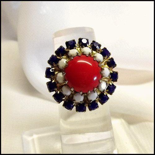 Patriotic Ring Red White Blue Rhinestones Americana Vintage Jewelry http://www.greatvintagejewelry.com/inc/sdetail/patriotic-ring-red-white-blue-rhinestones-americana-vintage-jewelry-/3415/18790