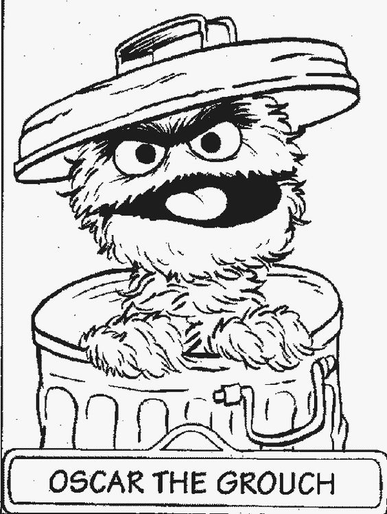sesame street charactor coloring sheets | Oscar the Grouch Sesame Street Coloring Pages