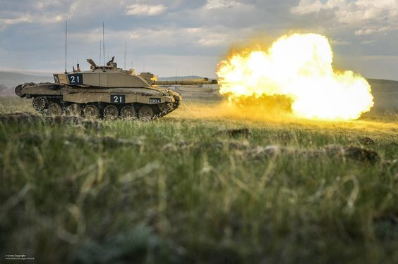 A Challenger 2 Main Battle Tank of the Royal Welsh Battle Group on Exercise Prairie Storm at the British Army Training Unit Suffield (BATUS) in Canada.