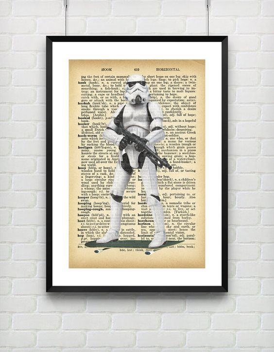 Stormtrooper Skateboard Star Wars Vintage Dictionary Art Print --  by VIVIDEDITIONS