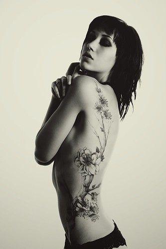 Black and white flower tattoo.