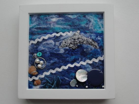 UNDER THE SEA - Embellished Needle-felt Picture with Dolphin in Box Frame £16.00