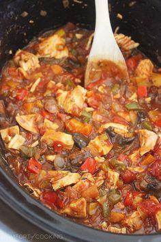 Cheesy Crockpot Chicken Cacciatore Recipe ~ It's saucy, scrumptious, and sensationally easy