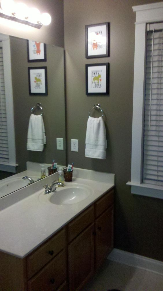 Warm paint and master bath on pinterest for Warm bathroom designs