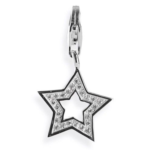 Symbols Charm, Stern aus Silber mit Zirkoniapavée & Karabiner.