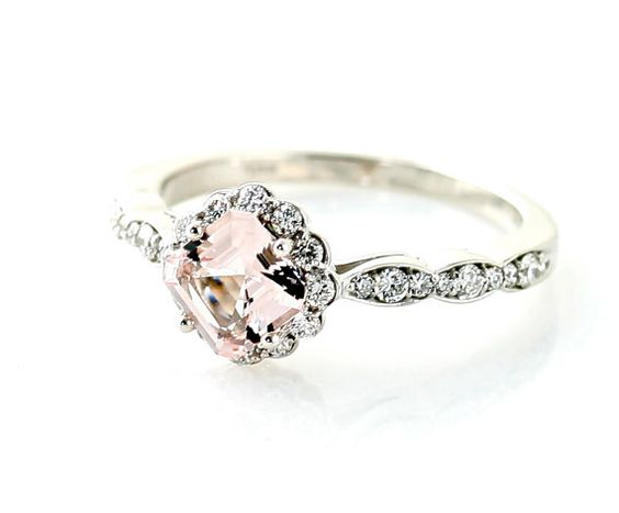 Palladium Asscher Morganite Diamond Engagement Ring by RareEarth, $889.00