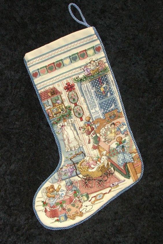 girls christmas stockings cross stitch | ORDER Finished Completed Cross Stitch Christmas Stocking. Little GIRLS ...