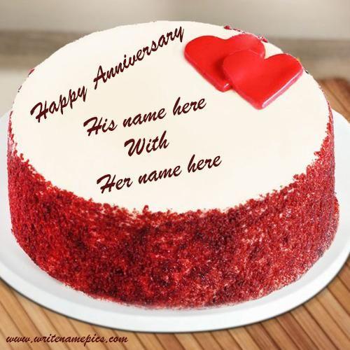 Wedding Anniversary Card With Name And Photo Edit Happy Anniversary Cakes Wedding Anniversary Cards Anniversary Cake