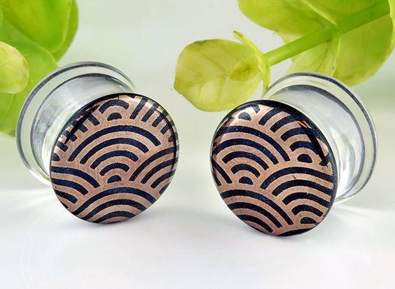 Pyrex glass colorfront plugs (Japanese wave on indigo sparkle)