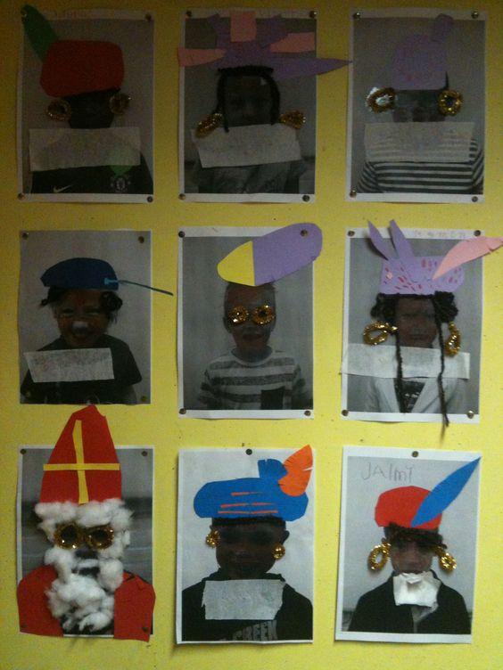Mijn eigen versie. Foto's van de kinderen als Piet of Sint.