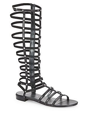 Stuart Weitzman Gladiator Metallic Sandals - Black - Size