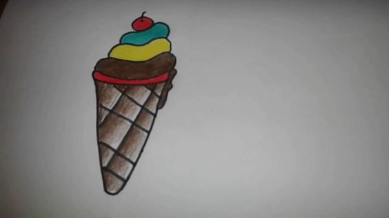 Drawing tutorial:how to colour an ice-cream by using pencil colour for k...