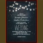 Romantic night wedding invitation with stars and sky and hanging string of lights. Dreamy and whimsical invite for your evening / night outdoor wedding with bright stars and starry twinkle lights. -- All design element created by Jinaiji