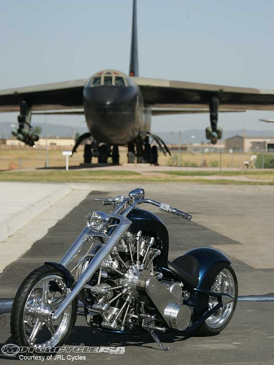 Custom motorcycle built around an airplane engine, cool bike, would like to find out how it rides.