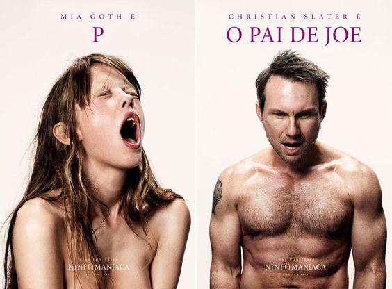 """""""Ninfomaníaca"""": posters de Mia Goth e Christian Slater."""