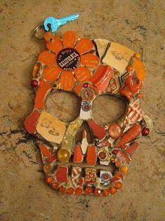 Mosaic art skull, orange crush