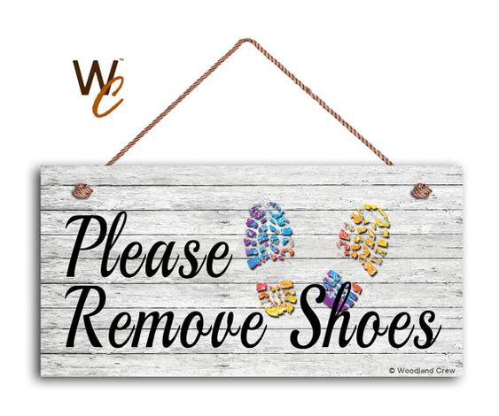 Please Remove Shoes Sign Shabby Chic Sign by WoodlandCrew on Etsy