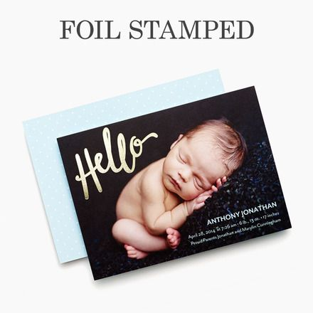 Scripted Hello - Foil Stamped Boy Birth Announcement - Petite Alma - Powder Blue #baby