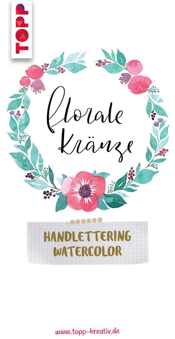 Handlettering Watercolor Blumenkranz Anleitung Blumen Aquarell