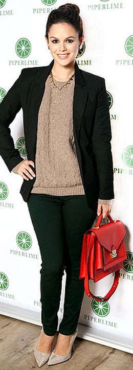 Rachel Bilson: Jacket - Elizabeth & James Necklace - House of Harlow Sweater - Vince Shoes - Kate Spade Jeans - Rag & Bone Purse - Loeffler Randall Rider Bag FootCandy Loeffler Randall - Rider-Sf Amazon LOEFFLER RANDALL Rider Satchel House of Harlow 1960 Triangle Collar Necklace Designs House of Harlow 196