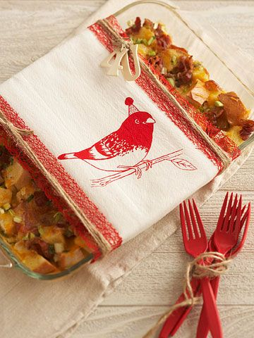 Towel Wrapped Food Gift (with Egg and Bacon Breakfast casserole recipe)