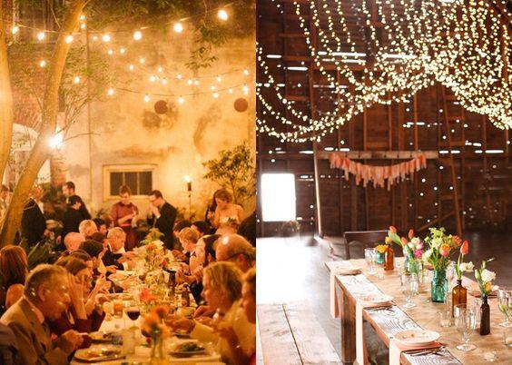 Ideias inspiradoras para você fazer uma decoração de casamento rústico utilizando fios de lâmpadas.