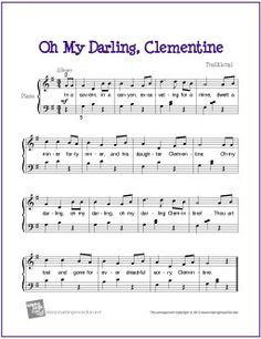 Oh My Darling, Clemetine - easy sheet music for piano