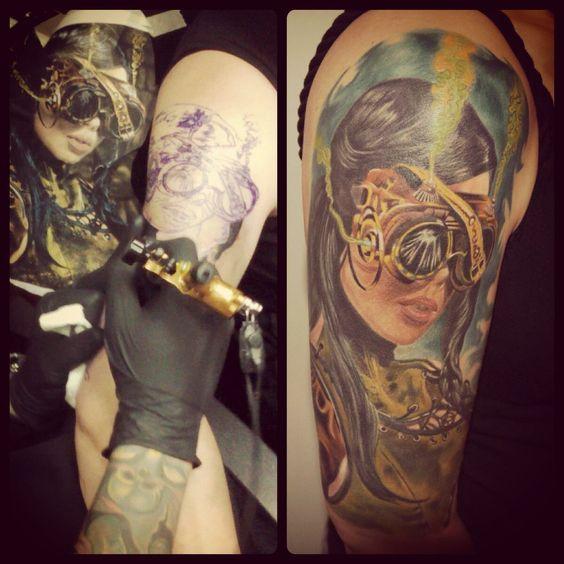 Steampunk girl tattoo on arm