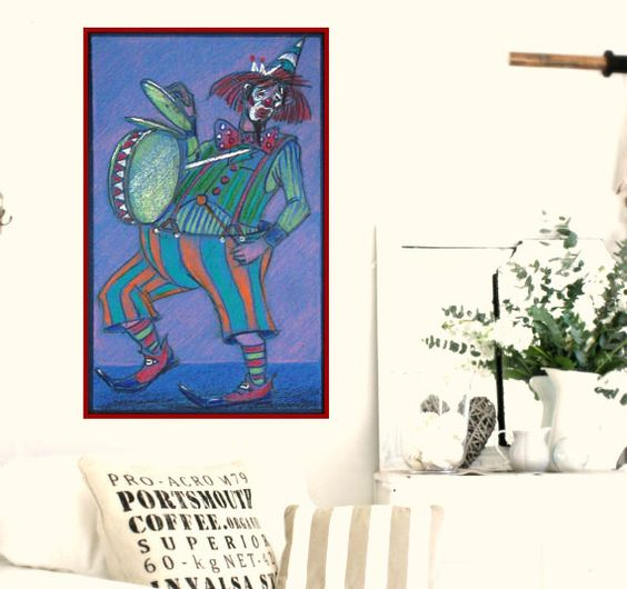 Original Pastel Painting Clown Playing Drums Beating by OvanezArt