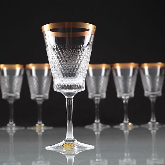 6 Vintage Spiegelau Helios Kristall Gläser Weingläser Goldrand 50er - 60er T