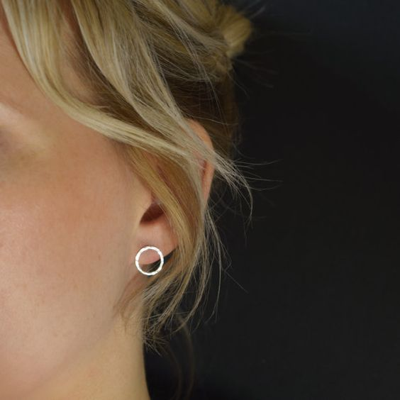 Hammered Silver Circle Studs - Open Circle Earrings - UK Handmade Simple yet sophisticated, the hammered finish reflects the light making them very