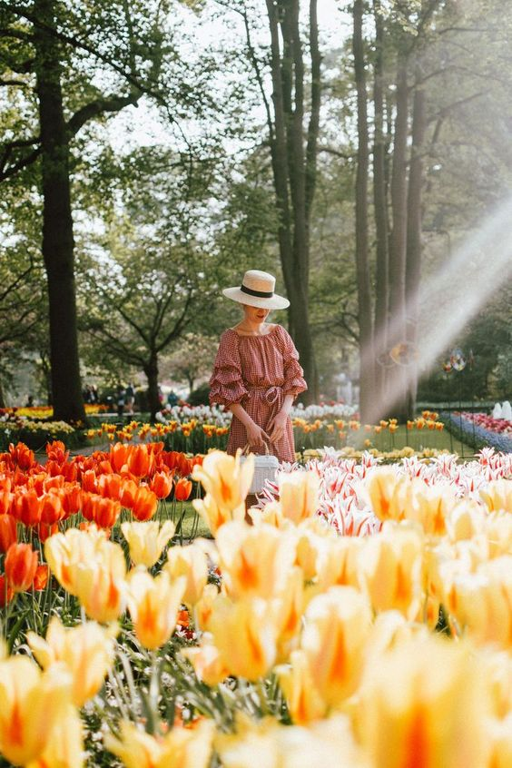 Keukenhof, red gingham dress, midi dress, gucci sneakers, straw bag, andreea birsan, couturezilla, cute summer outfit ideas 2018, when to visit the tulip fields in the netherlands, the best time to visit the dutch tulip fields, the keukenhof gardens, plan a trip to the netherlands, holland, dutch tulips, dutch tulip garden near amsterdam, the most beautiful park in europe, where to find the most beautiful flowers for photos, instagram worthy spots in holland, the popular tulip fields from instag