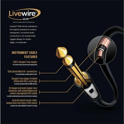 Livewire Elite Instrument Cable 3 Ft Black With Images Speaker Cable Elite Cable