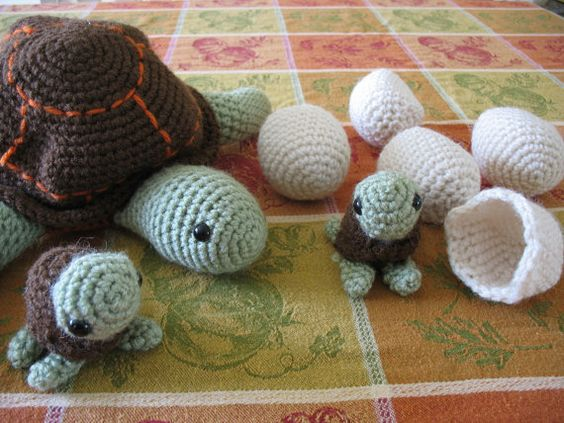 Cute Crocheted Mother Turtle With Eggs and Young. $25.00, via Etsy.