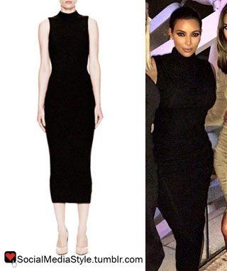 Buy Kim Kardashian&-39-s Black Sleeveless Turtleneck Dress- here ...