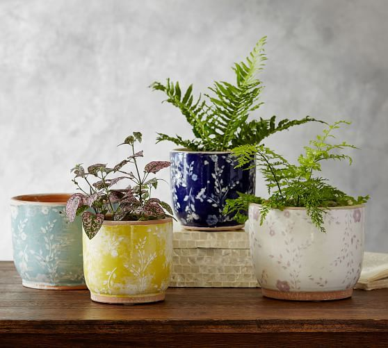 Ceramic Cachepot Collection Floral Decorative Pottery Diy Pottery Ceramics