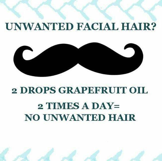 Grapefruit oil for unwanted facial hair