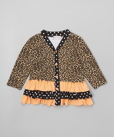 Another great find on #zulily! Leopard & Peach Ruffle Cardigan - Infant, Toddler & Girls #zulilyfinds