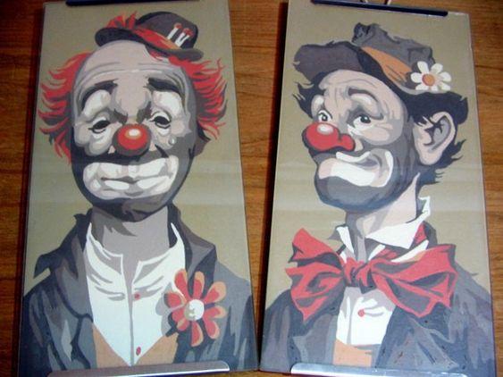 Hobo Clown Painting | Vintage 1950's HOBO CLOWN PAINTINGS Set of 2