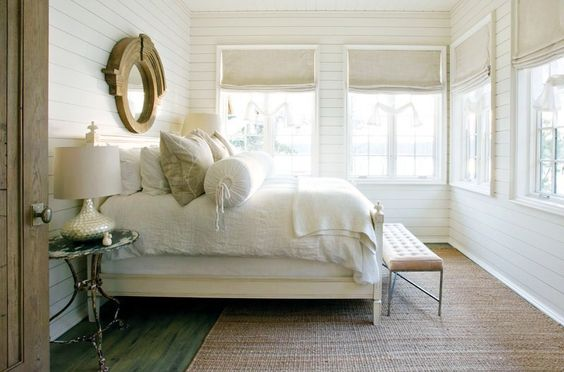 white #bedroom with #natural materials