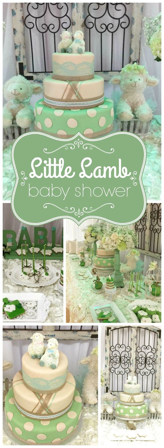 Two little lambs are welcomed at this sweet vintage baby shower! See more party ideas at CatchMyParty.com!