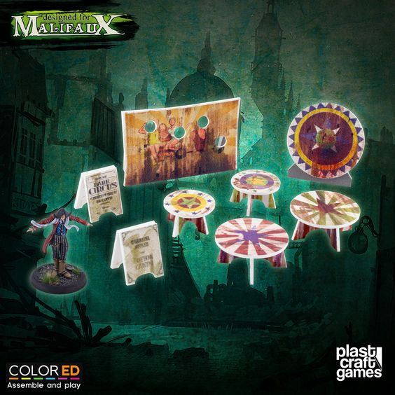 Plast Craft ColorED Malifaux Terrain Circus Prop Set