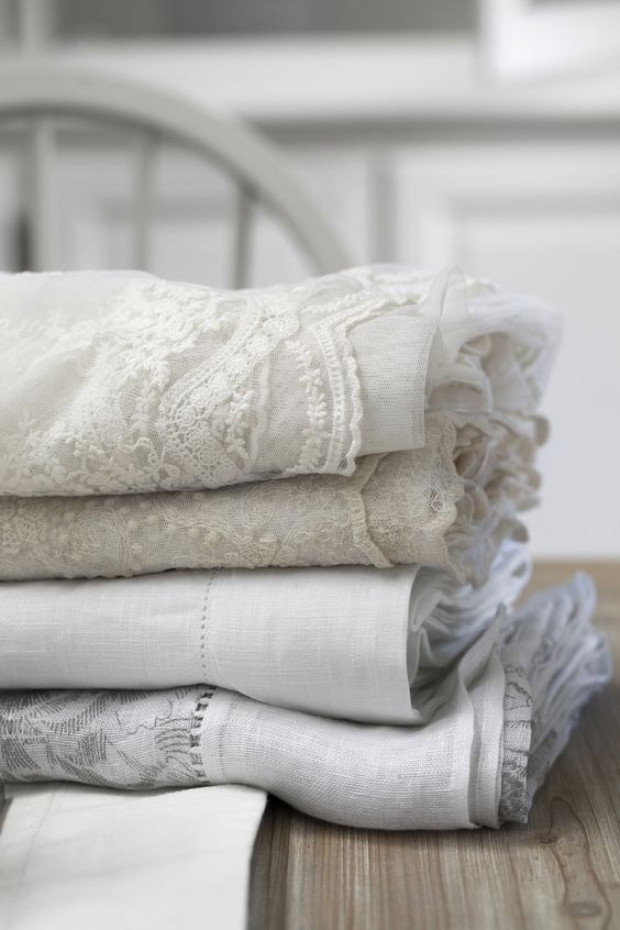 Lene Bjerre tablecloths, spring 2014. From the top: CHRISTA EMB, CARLA EMB, MARLIA LINEN and ADELINE ROSE.