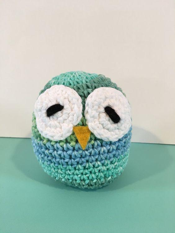 """Handmade Crochet Owl 5"""" Blue Green Ombré - Super Cute!"""