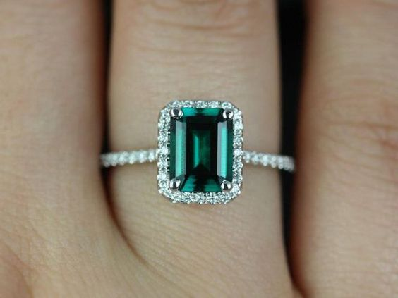 white gold emerald rectangle engagement rings