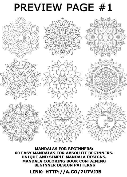 Preview Page 1 From The Book Mandalas For Beginners 60 Easy Mandalas For Absolute Beginners Uniq Mandala Coloring Books Simple Mandala Design Simple Mandala