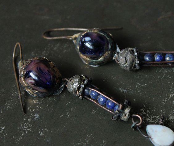 meteors lampwork glass art beadslapis lazuli dangle by nearlylost