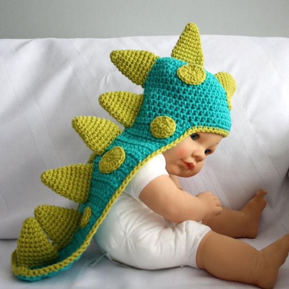 Baby Dinosaur Knitting Pattern : Dinosaur Baby Hat with Tail and Horns, Dragon Baby Hat, Crochet Costume, Phot...