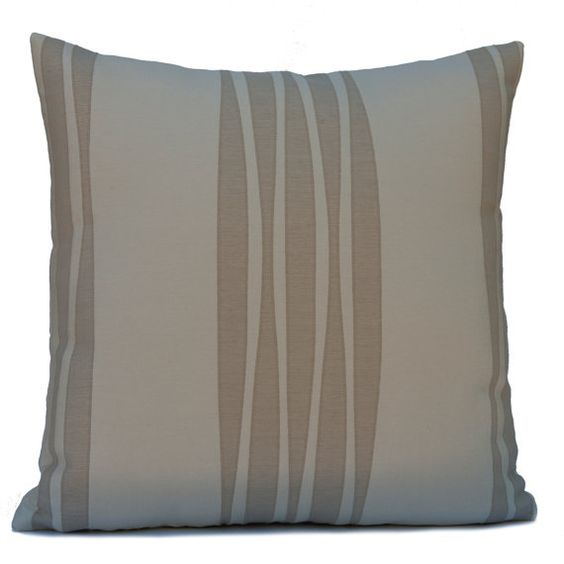 Light Brown and Cream color Cotton Blend Pillow Cover with Stripe Pattern