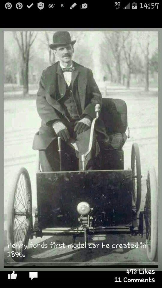 Henry Ford in his first car 1896 | History | Pinterest | Henry ford ...